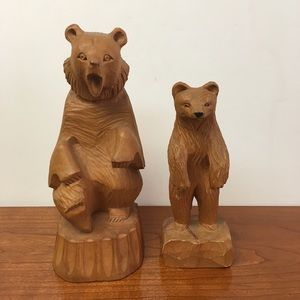 Pair of Hand carved wooden Bears Russia Canada